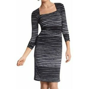 WHBM Striped Ruched Square Neck Dress